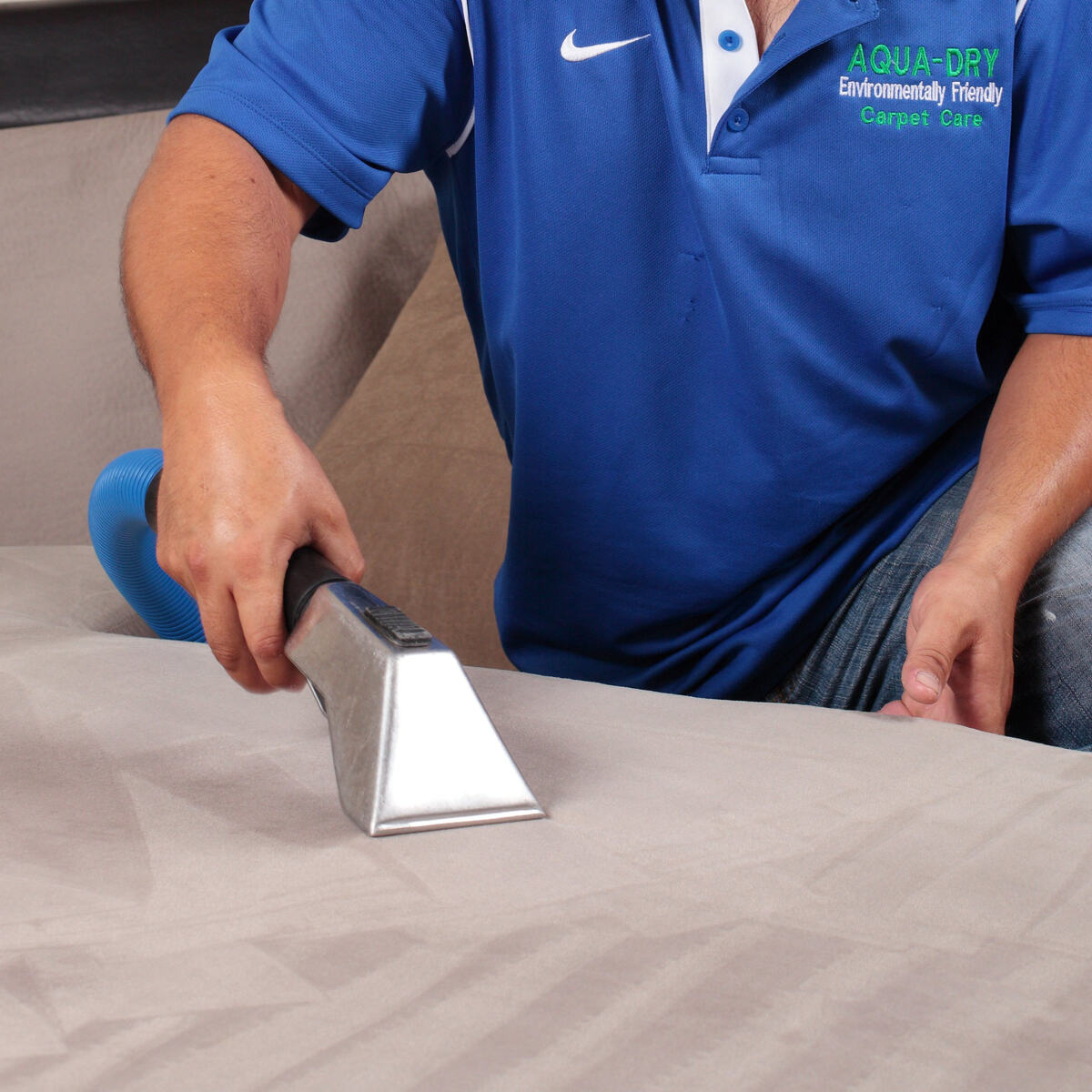 Aqua-Dry uses a high pressure hot water extraction system to effectively clean upholstery with minimal moisture.