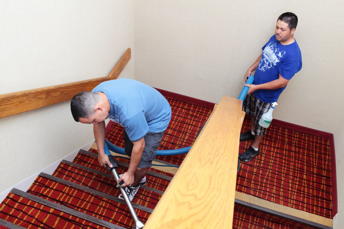 Professional Carpet Cleaning - Hotel Staircase