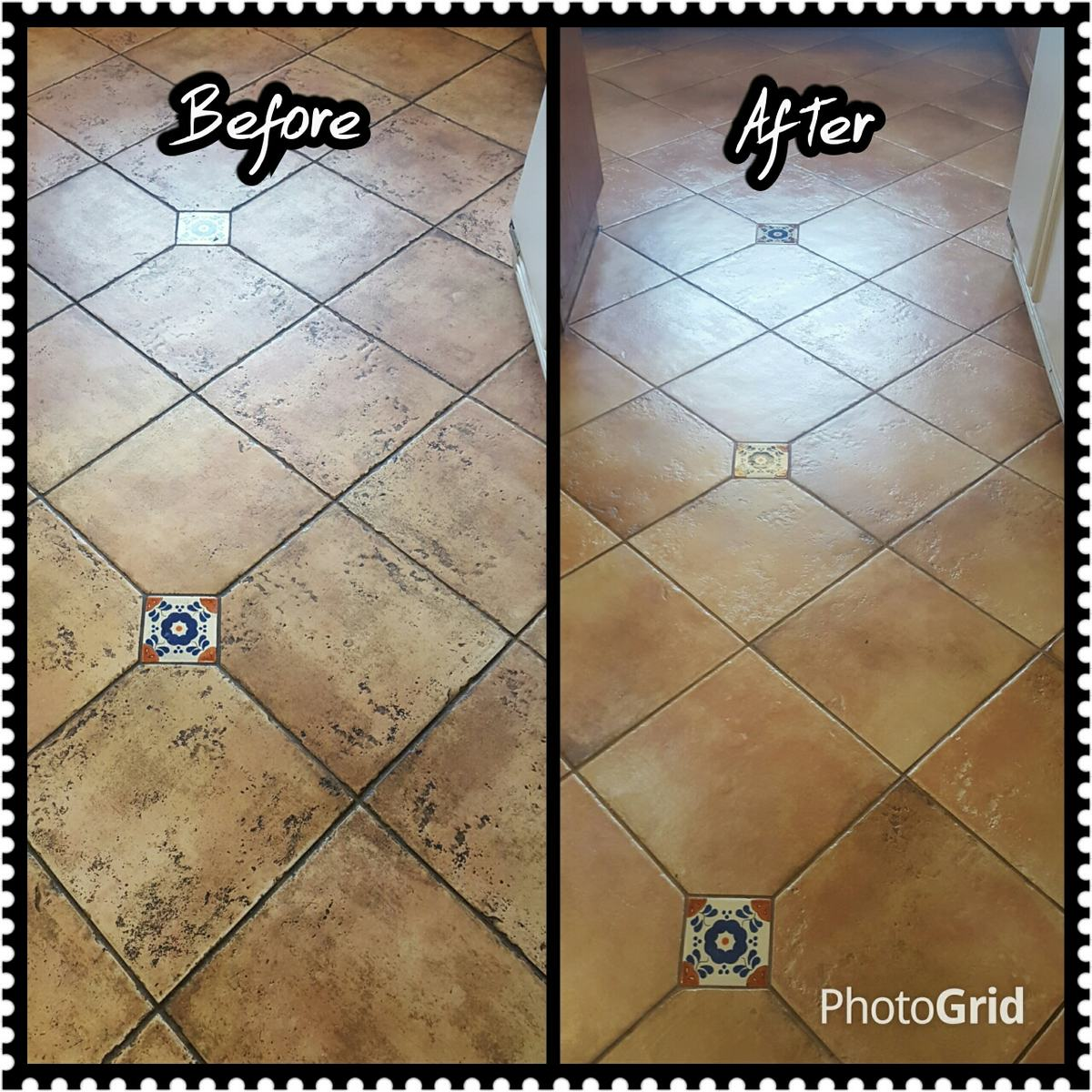 Before and after tile cleaning example